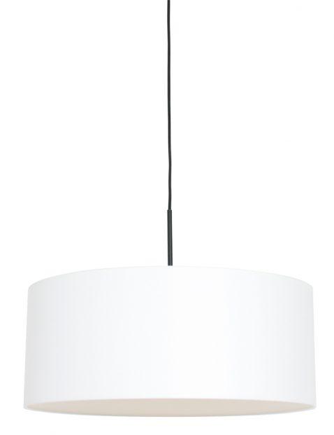 Hanglamp met witte chitzo kap zwart - 8151ZW