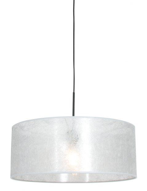 Hanglamp met zilveren sizoflor kap zwart - 8153ZW
