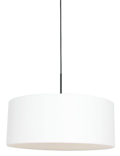 Hanglamp met ronde witte linnen kap zwart - 8154ZW