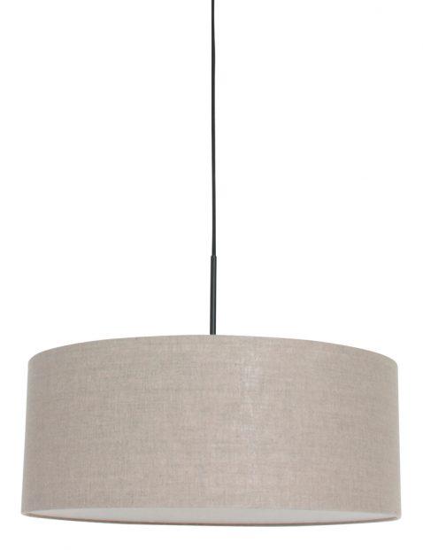 Hanglamp met ronde taupe kap zwart - 8155ZW
