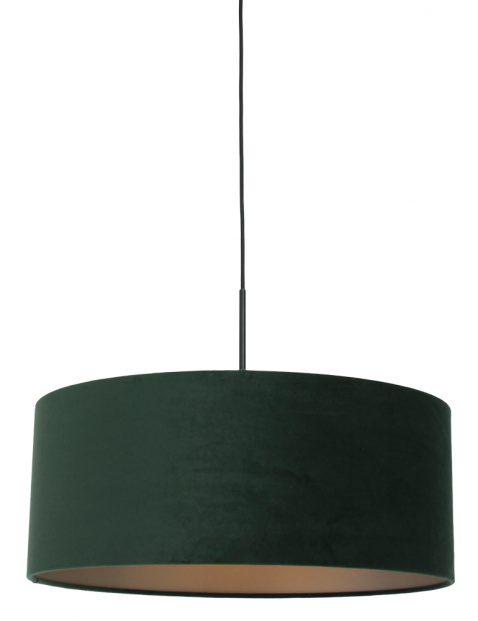Hanglamp met groene velvet kap zwart - 8156ZW
