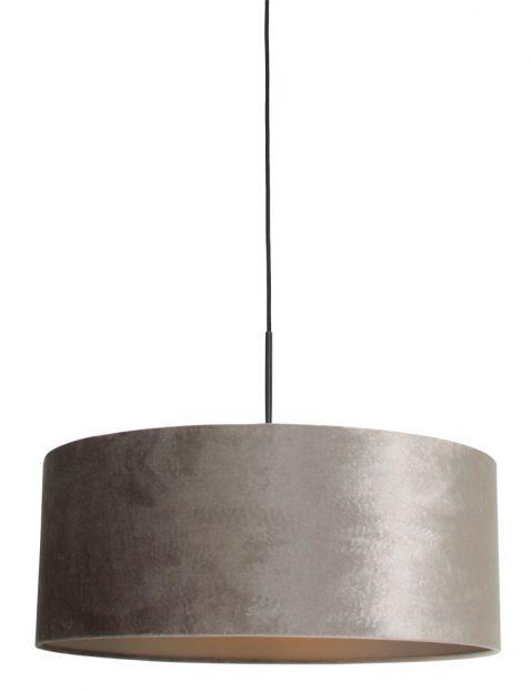 Hanglamp met zilveren velvet kap zwart - 8157ZW