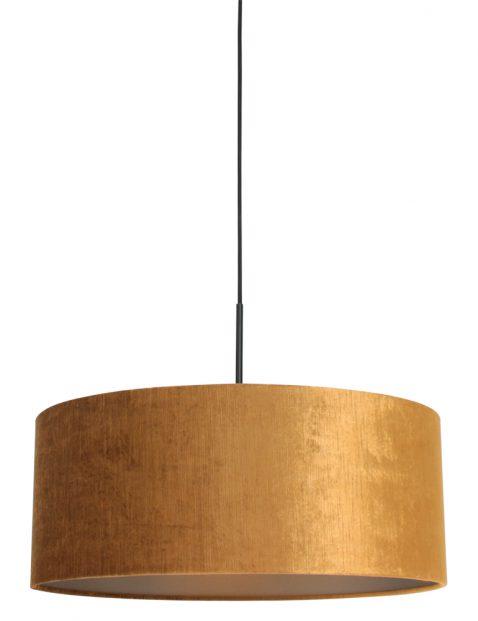 Hanglamp met gouden velvet kap zwart - 8158ZW