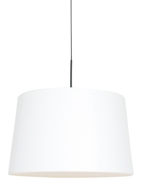 Hanglamp met effen witte kap zwart - 8189ZW