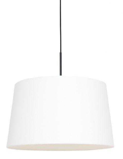 Hanglamp met linnen witte kap zwart - 8190ZW
