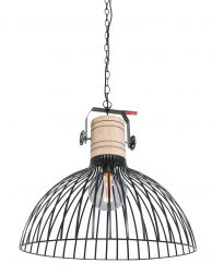 Draad hanglamp met houten klos-2998ZW