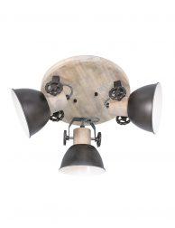Houten ronde plafondlamp 3 spots-3063A