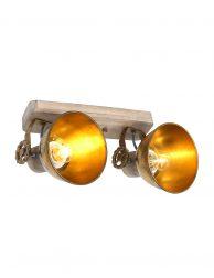 Stoere tweelichts plafondspot-7969BR