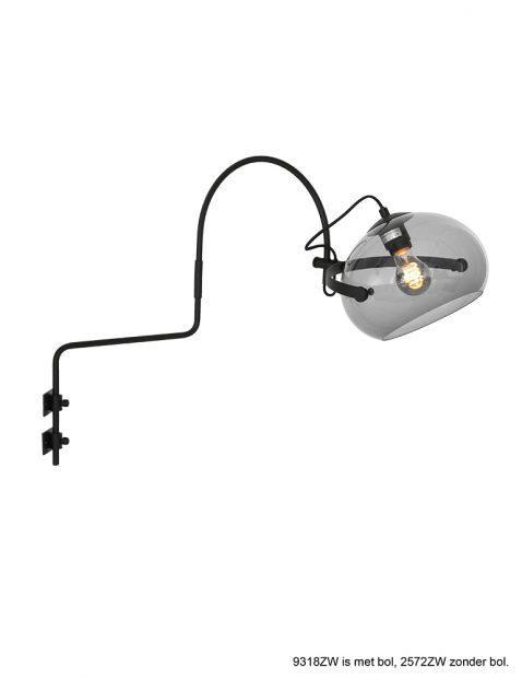 Lange wandlamp met bolle kap-9318ZW