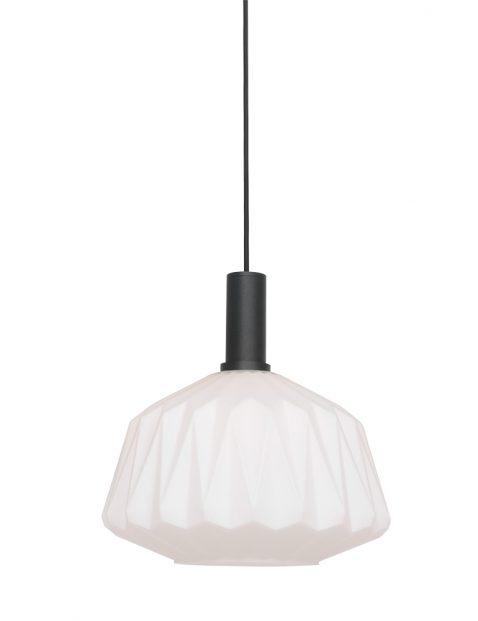 Hanglamp met melkglazen kap-3076ZW
