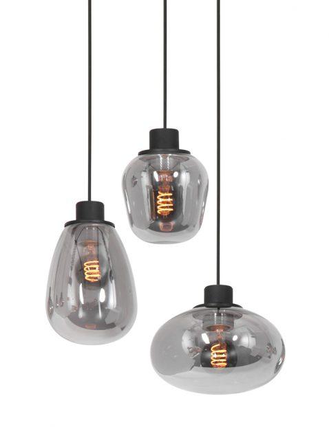 Drielichts rookglazen vide hanglamp-3079ZW