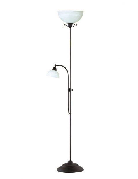 Sierlijke vloerlamp met wit glas-3193B