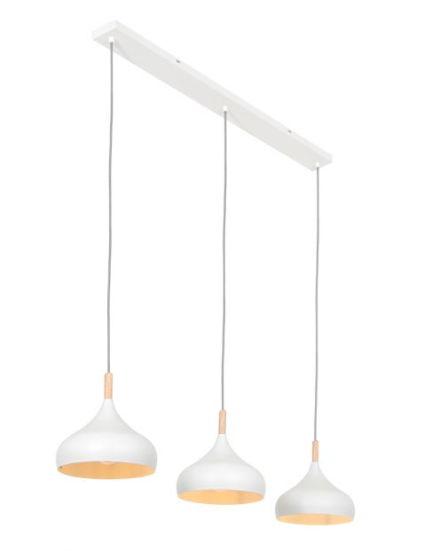 Drie lichts hanglamp witte kap