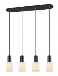 Vierlichts hanglamp met witte kapjes-3137ZW