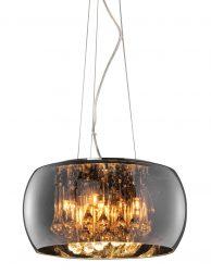 Rookglazen hanglamp met kristallen-3144CH