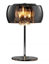 Tafellamp met rookglas en kristal-3145CH