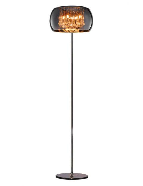 Chique vloerlamp met rookglas-3146CH