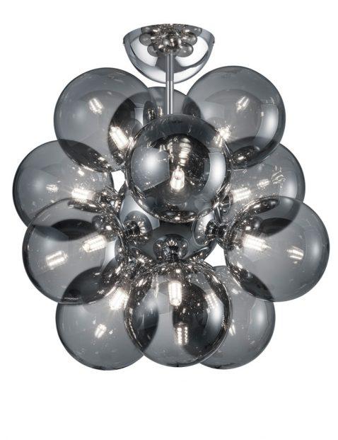 Twaalflichts rookglazen bollen plafondlamp-3148CH