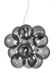 Rookglazen hanglamp met twaalf bollen-3149CH