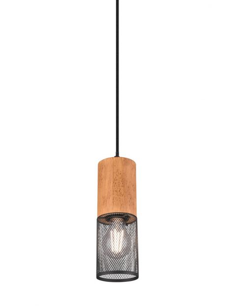 Pendellamp met hout-3161ZW