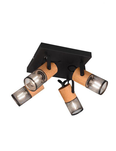 Vierlichts draad plafondlamp hout-3164ZW