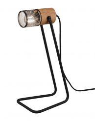 Tafellamp zwart met houten details-3165ZW