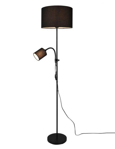 Zwarte vloerlamp met lampenkap en leesarm-3221ZW
