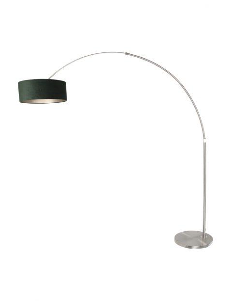 Stalen booglamp met groene kap-8124ST