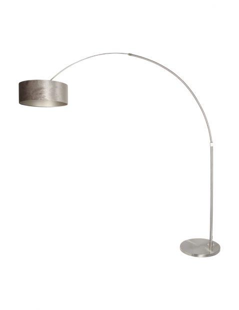 Stalen booglamp met zilveren lampenkap-8125ST