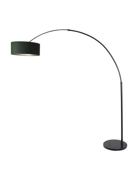 Zwarte booglamp met velvet groene kap-8127ZW
