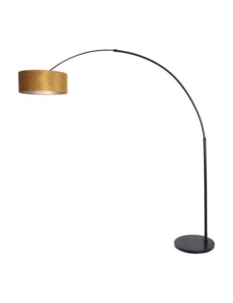 Zwarte booglamp met gouden kap-8129ZW