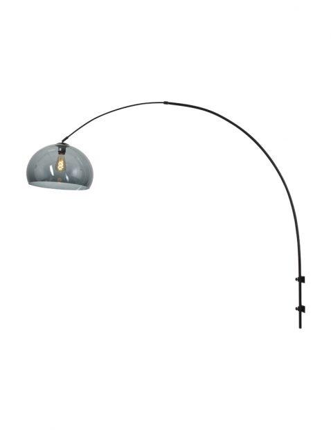 Wandlamp met rookglazen bol-8196ZW