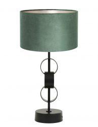 Lampenvoet cirkels met groene velvet kap-8253ZW