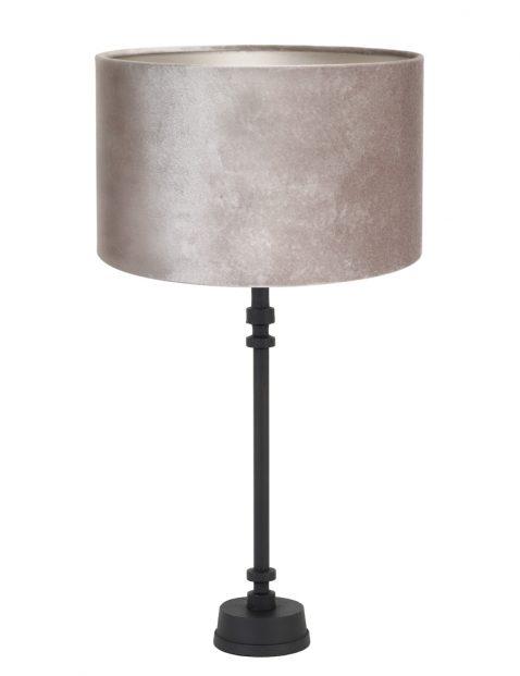 Zwart lampenvoetje met zilveren lampenkap-8266ZW