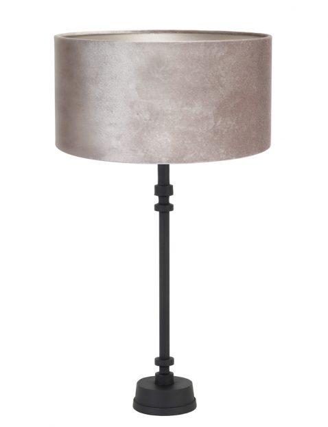 Zwarte lampenvoet met zilveren lampenkap-8271ZW