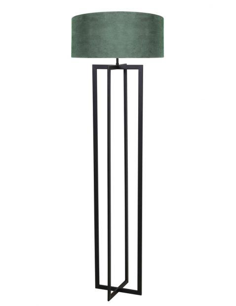 Schemer lampenvoet met groene velvet kap-8287ZW