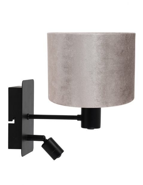 Zwarte wandlamp met zilverkleurig kapje-8289ZW