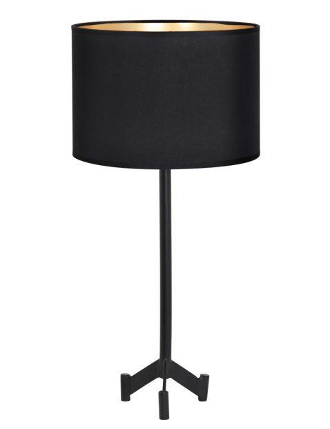 Zwarte schemerlamp met goudkleurige binnenzijde-8308ZW