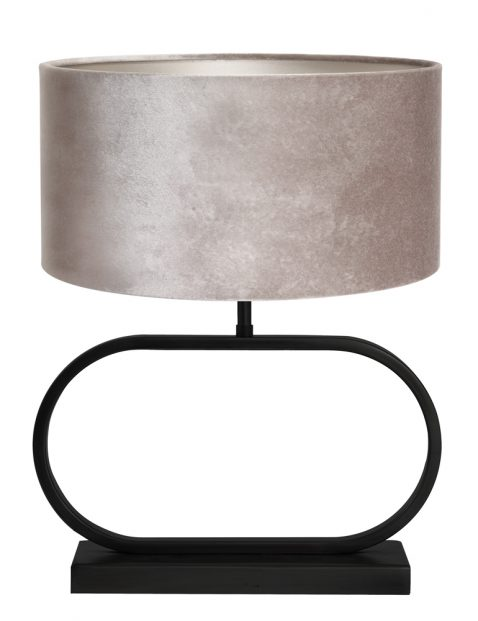 Tafel schemerlamp met grijze velvet kap-8312ZW