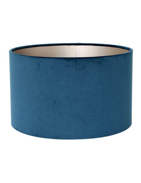 Ronde blauwe velvet lampenkap 30 cm-K7396ZS