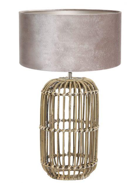 Rotan tafellamp met grijze velours kap-7022B