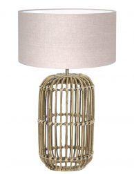 Botanische lampenvoet met beige linnen kap-7025B