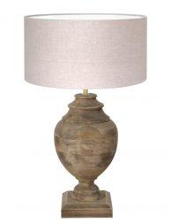 Landelijke tafellamp met hout-7073B