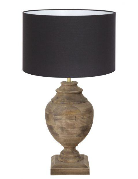 Vaaslamp hout met zwarte kap-7075B
