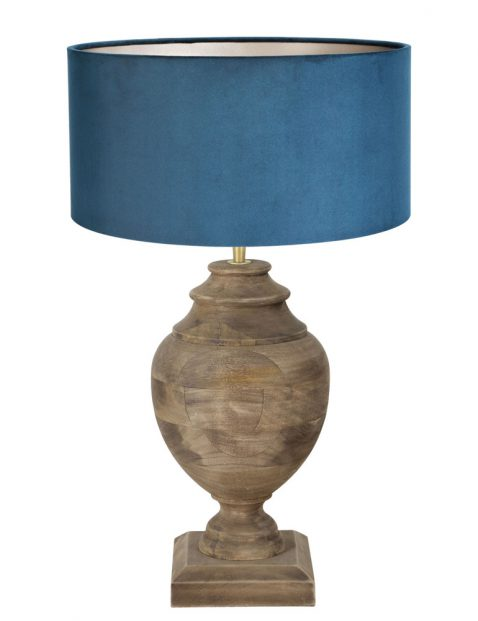 Houten tafellamp met fluweel blauwe kap-7076B