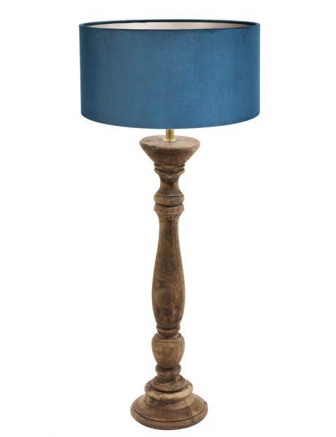 Houten tafellamp met blauwe kap-8358BE
