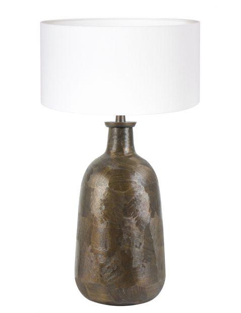Klassieke schemerlamp met witte kap-8375BR