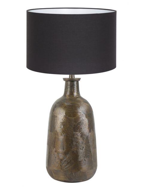 Zwarte lampenkap op klassiek bronzen voet-8378BR
