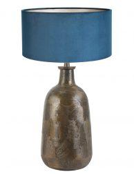 Blauwe kap op bronzen lampenvoet-8379BR