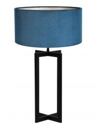 Vensterbanklamp met blauwe velvet kap-8456ZW